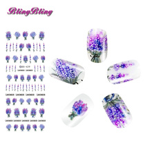 2sheets Lavender Flower Nail Sticker Purple Blooming Water Decals DIY Design Nail Art Transfer Decals Floral Water Slide Decor(China)