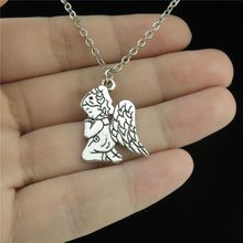 GLOWCAT Q19A02 Silver Chain Alloy Women Girls Jewelry Angel Wing Pray Fairy Pendant Collar Chunky Necklace 18""