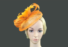 Orange Sinamay Fascinator Headband With Feather Flower Hair Band Headwear Bridal Wedding Hats Fascinators Unregular Design Shape(China)