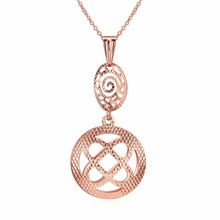 New Collection Women Jewelry Hollow Round Shape Design Drop Pendant Style Plating Rose Gold Copper Necklace
