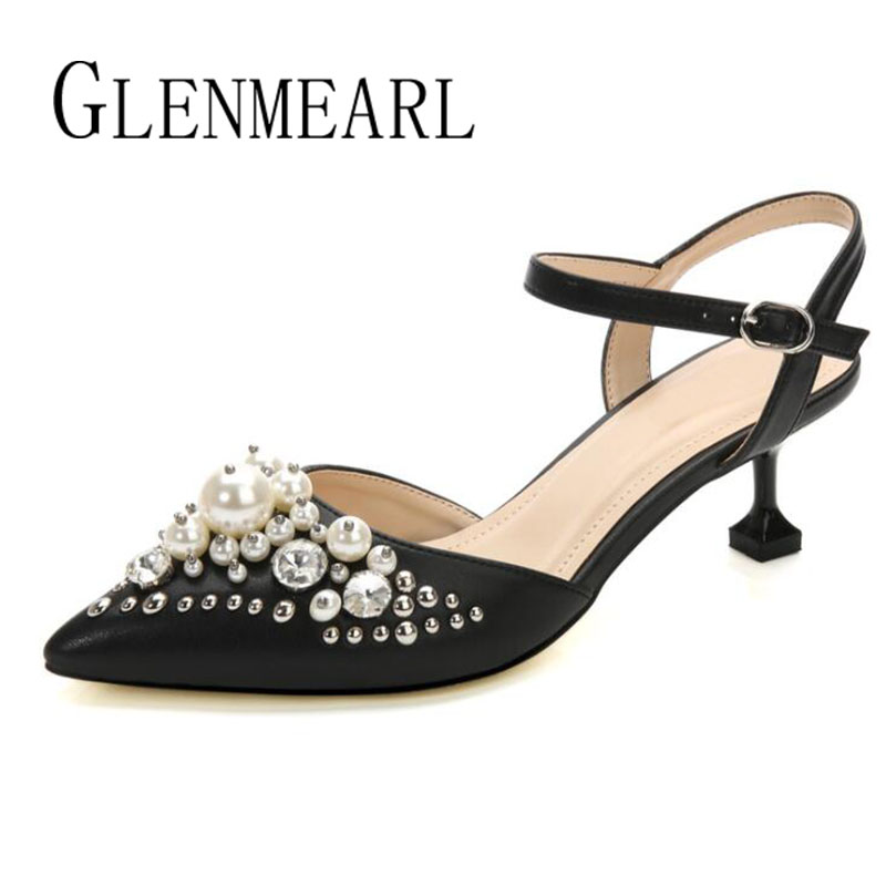 Brand Women Sandals High Heels Shoes Leather Summer Pearl Pointed Toe Single Ankle Shoes Black Thin Heels Wedding Shoes Woman 45<br>