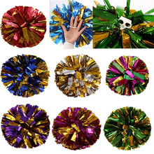 Mix Color Cheerleading Game Pom Poms Flower ball Metallic Foil And Plastic Ring Party decoration Cheer Up Flower Art drop ship