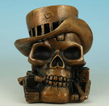 Chinese Old COOL CHINESE BRONZE COLLECTABLE HAND CASTING PIRATE DICE SKULL ASHTRAY POT Watches decoration bronze factory outlets