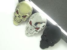 3 Colors fashion cool red eyes matel logo Cars sticker skulls metal sign car wings car accessories car styling+
