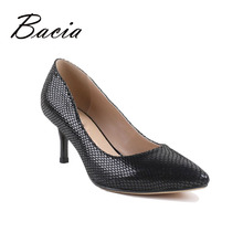 Bacia 100% Genuine Leather Shoes Pointed Toe Sexy Silver Foil Sheepskin Leather Pumps New Designer 2016 Hand Made Shoes VB020(China)
