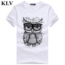 2017 Men's Summer Casual Tops Cool Boys Stylish Cottom Owl Printed T Shirt Fashion Hipster Tees Jan10