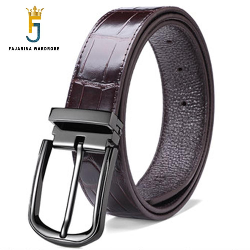 FAJARINA Fashion Formal Styles Design Quality Cowhide Pin Buckle Metal Belts Male Jeans Cow Skin Leather Belt for Men LUFJ652