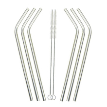 Excellent! New 6 Pcs Stainless Steel Metal Drinking Straw Reusable Straws + 2 Cleaner Brush Free Shipping