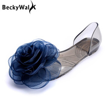 Sweet Flowers Lady Jelly Shoes Women Sandals Flat Summer Shoes Woman Casual Flats Shoes Sandalias Mujer WSH2057(China (Mainland))