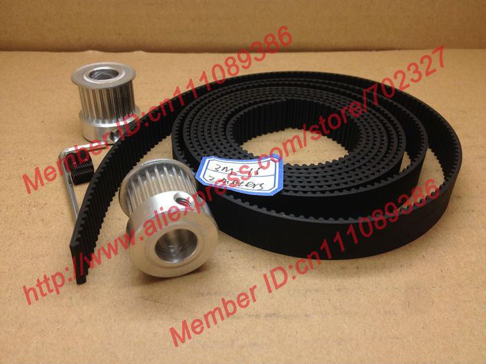 2Meters HTD 3M timing belt Neoprene width 15mm + 2pcs 24 teeth 3M Timing Pulley Bore 10mm for laser engraving CNC machines<br>