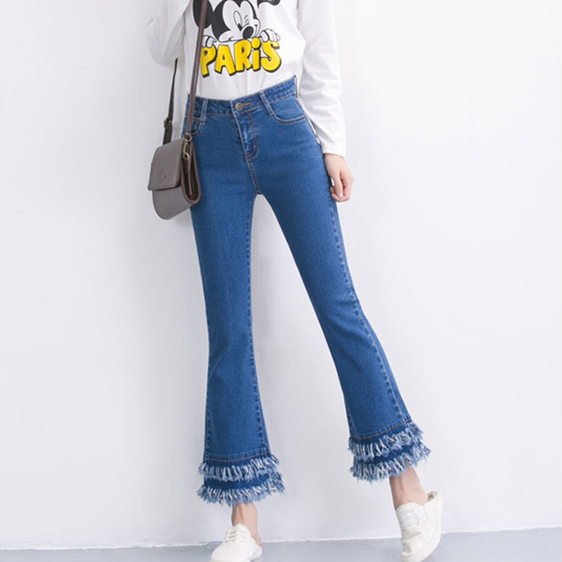 New Autumn Fashion women Tassel jeans Slim High-waist retro flared jeans Denim pants Elasticity trousers wide leg pantsОдежда и ак�е��уары<br><br><br>Aliexpress