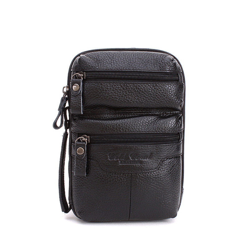 Multifunctional genuine leather male waist pack casual  shoulder bag first layer of cowhide small messenger bags for men<br>