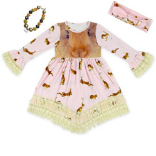 girls kids Easter bunny dress lace dress girls long sleeve dress with matching headband and chunky necklace set free shipping