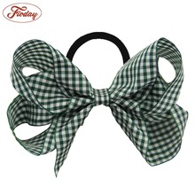 1Pcs Girls' Curler Hair Ties Kids Ponytail Holder Hair Accessories Plaid Hairbow with Elastic Hair Ties for Girls Children