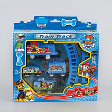 2016 HOT Puppy Patrol dogs patrulha canina brinquedo Electric Rail Train Track Toy For Children Kids Best Christmas Gift