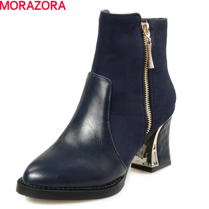 MORAZORA 2017 New arrive large size 34-43 ankle boots for women thick heel fashion pointed toe mature womens boots platform<br>