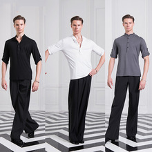 Cheap Latin Dance Shirts For Males Black Gary White S-XL Size Tops Men Adult Presentation Latino Chacha Jazz Ballroom Wears B047
