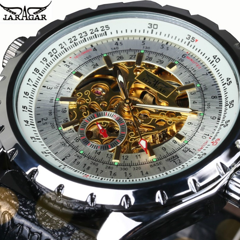 JARAGAR Luxury Mechanical Automatic Self-wind Watches Men Leather Strap Alloy Dial Mens Gift Skeleton Wristwatch<br><br>Aliexpress