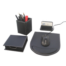 Ever Perfect 4PCS /Set Wood Black Leather Stationery Desk Set Organizer Pen Holder Box Note Case Card Stand Mouse Pad T95