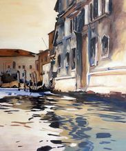 Hand Painted City Building Painting John Singer Sargent of Venetian Canal, Palazzo Corner, 1880 Landscape Art Hand Painted