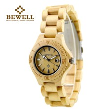 BEWELL Wood Luxury Watch Women Date Display Small Dial Analog Quartz Wrist-watch Womens Wooden Paper Box Watch for Girl 020AL(China)