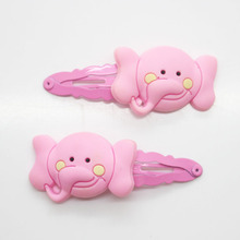 2 Pcs/set pink snaps cute elephant charm hair clips girl's fashion hair snap clips fancy hairpins hair accessories wholesale