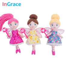 InGrace pretty fairy magic mini dolls with star wand shining wings red princess doll for girls handmade cheap little toys 23cm(China)