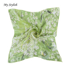 My Stylsih Low Price Good Quality Women Butterfly Printing Square Scarf Head Wrap Kerchief Neck Shawl Free Shipping Oct 25(China)