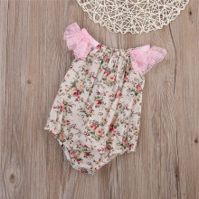 Grace Baby Vintage Princesse Rompers Lace Sleeve Floral Baby Girl Summer Wear Cute Short Sleeve Jumpsuit Sunsuit For Baby
