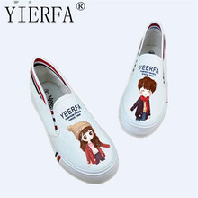 YIERFA Women's Canvas Shoes Personalized cartoon Hand-Painted Shoes Girl Flat Low Graffiti Shoes Fluorescent light shoes 35-40(China)