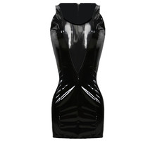 Buy Top Free Women Sexy Black Shiny PVC Leather Vinyl Bodycon Mesh Dress Back Zipper Catsuit Fetish Ladygaga Clubwear for $20.90 in AliExpress store