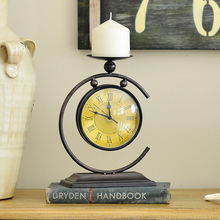 Multifunction double candlehome decor reloj despertador al fajr clock watches quartz digital automobile clock retro watch metal(China)