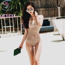 CATTLEYA Naked Color Swimsuits Crochet Lace One Piece Swimwears Skin Color Beach Bathing Suits Women New Ruffted Monokinis XMX