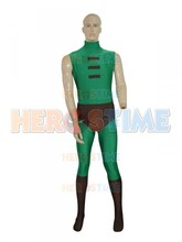 Deep Green & Brown Spandex Cosplay Costume DC Comics Green Arrow Powerful Men Superhero Costume Custom Made Suit(China)