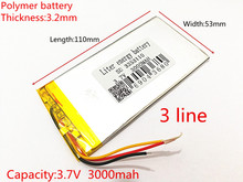 1pcs 3253110 3-Wire 3.7V 3000mAh Rechargeable li-Polymer Li-ion Battery For china clone Goophone 5.5 6plus I6 6SPLUS phone