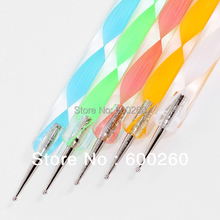 5 pcs /set 2 way 2 Dotting Marbleizing Painting Pen  Nail Care Tools Nail Art Dot Set