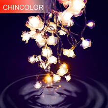 Love Rose LED String Lighting 10-20leds nightlight 9 Colors Valentine' Day Flower Party Wedding Christmas Fairy Decor SW(China)