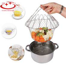 Stainless Steel Frying Basket Foldable Steam Strain Fry French Chef Basket Magic Basket Mesh Strainer Net Kitchen Cooking Tools