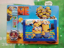 1sets/lot Despicable Me Kids Sets Watch and Wallet Purse Wrist Quartz Christmas Children Gift Boys Girls Cartoon Watches