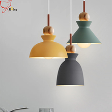 Nordic simple modern bedroom hanging light,24 kinds wood&metal lampshape colorful light fixtures for living room bar restaurant(China)
