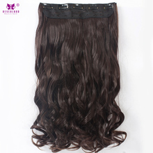 "Neverland 22"" Women Synthetic Wavy Curly 5Clips In Hair Extensions Dark Brown Natural Long Hair High Tempreture Fiber Hairpiece"