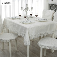vezon Hot Sale Elegant Jacquard Lace Tablecloth for Wedding Party Home Round Table Linen Cloth Cover Textile Decoration Towels