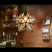Loft Vintage Ceiling Lamp, Shooting Star Tiffany Glass Pendant Lighting for Home Aisle Corridor Porch Shop Decoration luminaire
