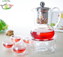 1x 6in1 Kung fu Coffee Tea Set A-500ml French Style Glass Tea Pot w/ Stainless Steel Infuser+4*Double Wall Cup Mug +Round Warmer