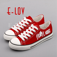 Linkin Park Canvas Shoes Printed Linkin Park Band Group Logo Punk Street Style Graffiti Women Shoes Girls chaussures