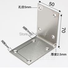 2pcs 70*50mm stainless steel angle bracket L shape satin finish frame board support(China)