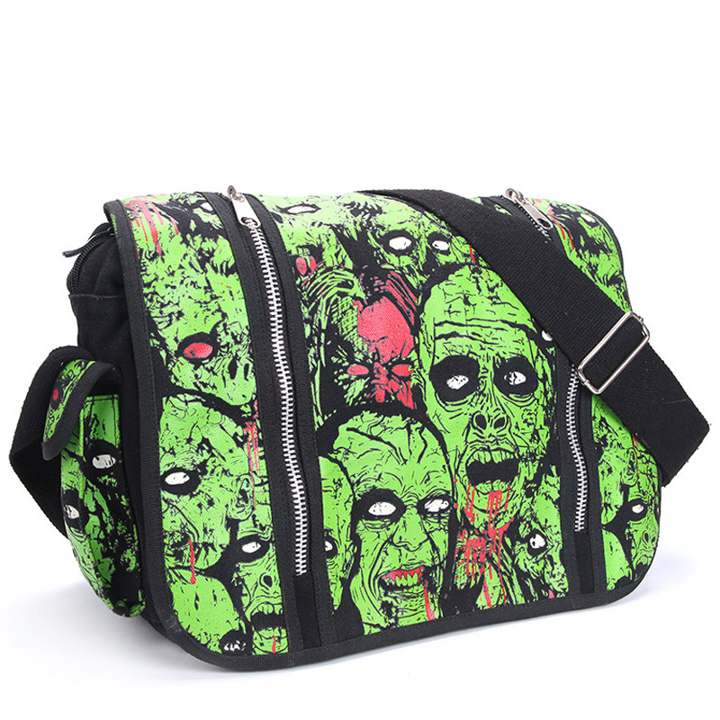 Men Women Unisex Zombie Attack Green Monster Gothic Waterproof Shoulder Cross Messenger School Work Bag<br>