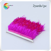 2yards high quality saddle rooster feather fringing 8-10cm sewing feather rose rooster feather trimming with satin ribbon