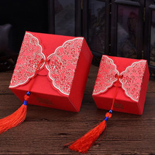 200pcs/lot 9*9*6cm Big Size Traditional Chinese Red Wedding Cake Favor Candy Sweet Boxes With Tassels Free Shipping ZA4004