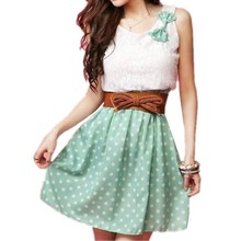 Loneyshow Womens Cute Patchwork Summer Dresses Bow Lace Sexy Women Lace Chiffon Dress Sleeveless O-neck Mini Solid Dress